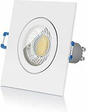 LED Einbaustrahler Set IP44 von LEDOX - dimmbar inkl. Einbaurahmen | 230V 7W Deckenleuchten Spot Badezimmer Feuchtraum I Deckenstrahler Einbauleuchten LED Strahler Deckenspots Downlight | LED Leuchtmittel GU10 (3000K 1er Set)