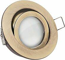 LED Einbaustrahler Set Messing mit LED GU10