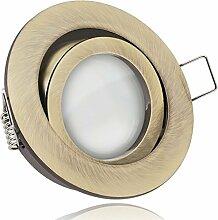 LED Einbaustrahler Set Messing mit LED GU5.3 /