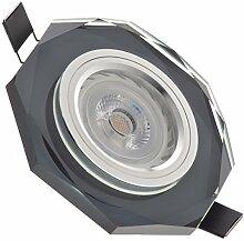 LED Einbaustrahler Set Schwarz Kristall/Glas mit