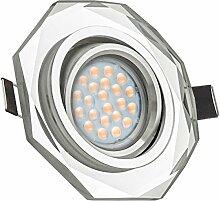 LED Einbaustrahler Set Weiß Kristall/Glas mit LED