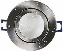 LED Einbaustrahler silber - rund flach 7 Watt