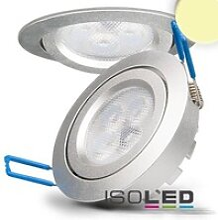 LED Einbaustrahler silber rund flach 8W 550lm 72°