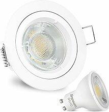 LED Einbaustrahler weiß lackiert matt rund