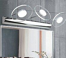 LED Eisen Edelstahl Glas Richtungsbeleuchtung Scheinwerfer Wandspiegel Frontleuchte Wasserdicht und einfach Modern für Bad/Make up Spiegel,3head-9W-46cm-warm