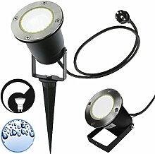 LED Erdspießleuchte / Außenleuchte / Edelstahl / Gartenstrahler / Bodenleuchte / RUND-136241 / GU10-230V (DIMMBAR / Warmweiß)
