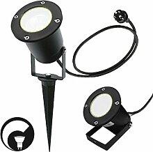 LED Erdspießleuchte/ Schwarz/ Außenleuchte/ Edelstahl/ Gartenstrahler/ Bodenleuchte/ RUND-1538881/ GU10-230V (DIMMBAR Warmweiß)