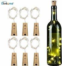 LED Flaschenlicht Kupferdraht Cork Form - ELINKUME® 6 x 2M 20LEDs Weinflaschen Lichter Kork Flasche Mini-Lichterkette Flaschenbeleuchtung für Party, Hochzeit, Valentinstag, Weihnachten, Urlaub