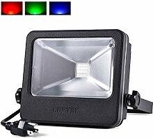 LED Flutlicht Strahler Außenleuchte RGB 30W 50W-LOFTEK IP66 Wasserdicht Wandstrahler Spotbeleuchtung Fluter Strahler Scheinwerfer Flutlichtstrahler (Schwarz-30W)