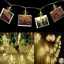 LED Foto Clip Lichterkette, Sterne batteriebetriebene Lichterkette, 20 LED 11ft Christmas Lights für hängende Fotos Gemälde Bilder Karte und Memos, Warm Weiss