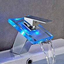 Led Glas Wasserhahn Wasserfall Waschbecken