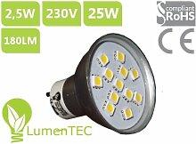 LED GU10, GU10 2,5W LED Lampe, GU10 12 SMD (5050) 180 Lumen LED Lampe Strahler GU10 mit schutzglas, =25W, GU10 led Warmweiss, , LumenTEC
