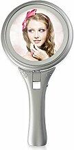 LED handle doppelseitige Kosmetikspiegel In einen Desktop-Spiegel faltbar 5 Vergrößerung-B