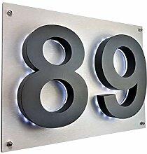 LED Hausnummer 3D anthrazit RAL7016 Edelstahl V2A