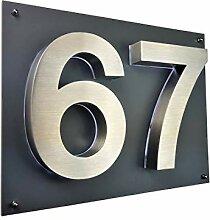 LED Hausnummer 3D Edelstahl V2A Hausnummerschild