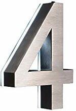 LED Hausnummer 4 Edelstahl V2A 3D Höhe 20cm