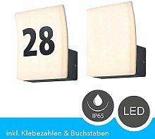 LED Hausnummernleuchte Aluminium, Anthrazit, IP65,