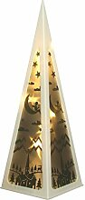LED Hologramm Pyramide 58cm Laterne Weihnachtsbeleuchtung Dekolampe Leuchtdeko , Farbe:weiss