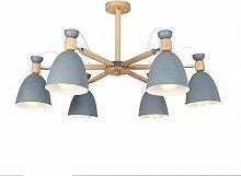 LED Holz Deckenleuchte E27 Lampenschirm 8 Köpfe
