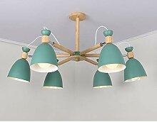 LED Holz Deckenleuchte Moderne E27 Lampenschirm 8