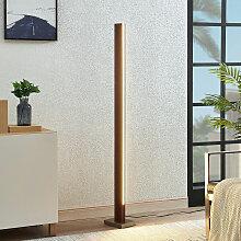 LED-Holz-Stehleuchte Tamlin, dunkelbraun