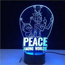 LED Illusion Nachtlicht 3D Frieden zwischen den