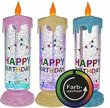 LED Kerze Farbwechsel Liquid Glitzer Glitter