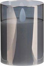 LED-Kerze, grau mit Spiegeleffekt H10