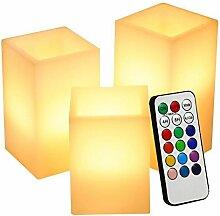 LED Kerze, Lunsy Quader LED Flammenlose romantische Kerze Licht Paraffin Wachs Würfel Kerze Lampe 12 Farben mit 18 Tasten Fernbedienung, 4 oder 8 Stunden Timer Funktion, 5 Zoll, 3pcs