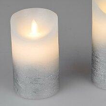 LED Kerze mit Wackeldocht mit Timer D. 7cm H. 13cm