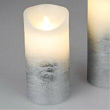 LED Kerze mit Wackeldocht mit Timer D. 9cm H. 18cm