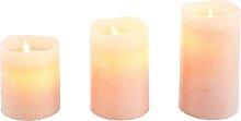 LED-Kerze, (Set, 3-tlg.) Ø7,5 cm rosa Kerzen