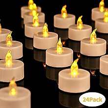 LED Kerzen 24 LED Flammenlose Tealights Flackern