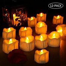 LED Kerzen, laxikoo 12 LED Flammenlose Teelichter,
