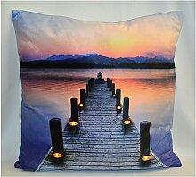 LED Kissen - Dekokissen Leuchtkissen - 45x45 cm - Weihnachten Geschenk Wellness - Bildmotive Ambiente (Steg - zsi001)