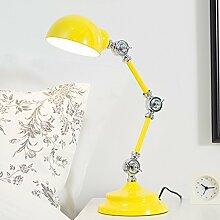 LED kleine Tischlampe, Schlafzimmer Nachttischlampe, kreativer Roboter Design, mehrfarbig optional, Multi-Winkel Beleuchtung, Druckknopfschalter ( Farbe : Gelb )