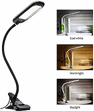 LED Klemmleuchte, Augepflege Bettleuchte mit 10 Helligkeitstufe und 3 Lichtfarbe, 360° Flexibel Schwanenhals Leselampe für Schlafzimmer Büro, 1,5m USB Kabel & Europa Netzteil (Schwarz+Neu Type)