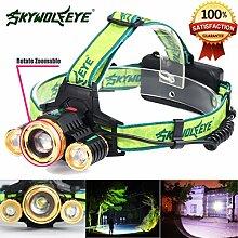 LED Kopflampe, TopTen Fan-Motive 3500Lumen Super Bright LED Scheinwerfer Head Light Taschenlampe für Camping Jagd Wandern und Outdoor Aktivitäten