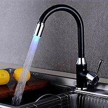 LED Küchenarmatur Kupfer Einhand Drehbare Kalt-