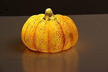 LED Kürbis, stimmungsvolle Herbst/Halloween Dekoration, 15x15x11 cm, Steinharz, Dekokürbis Leuchtkürbis Herbst Halloween