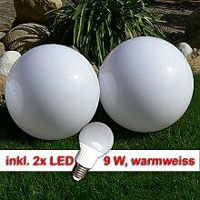 LED Kugellampe, 2 x 20cm Set Kugelleuchte incl. 9