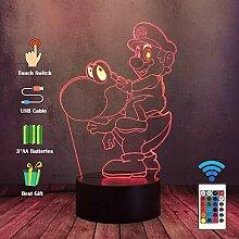 LED-Lampe, 3D-Spiel, Super-Mario-Spielzeug,