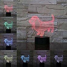 Led Lampe Dackel Hund 3D Lampe Illusion Nachtlicht