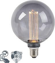 LED Lampe G125 E27 5W 2000K Rauch 3-stufig dimmbar