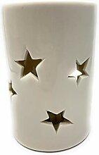 LED Lampe Star mit Stern H16 D10cm Porzellan weiss