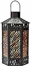 LED Laterne aus Metall und Glas Animalprint Afrika Design schwarz Dekoration NEU