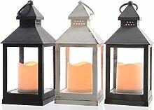 LED Laterne Kunststoff 24 cm Kerze Batterie Timer