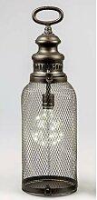 LED Laterne, Lampe HELGOLAND H. 44cm antik Metall