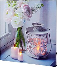 LED Leinwandbild Kerzen & Traumblüte, grau