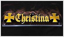 "LED Leuchtschild Gravur z.B. ""Christina"" gelb"